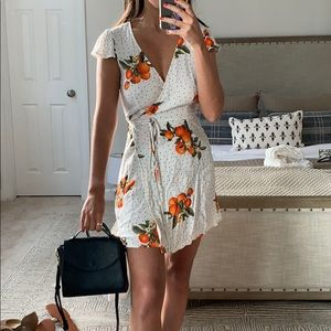 Orange & polka dot wrap dress